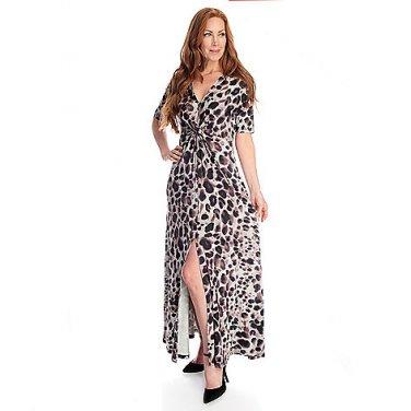 Animal Print Short Sleeve Maxi Dress, Size Small
