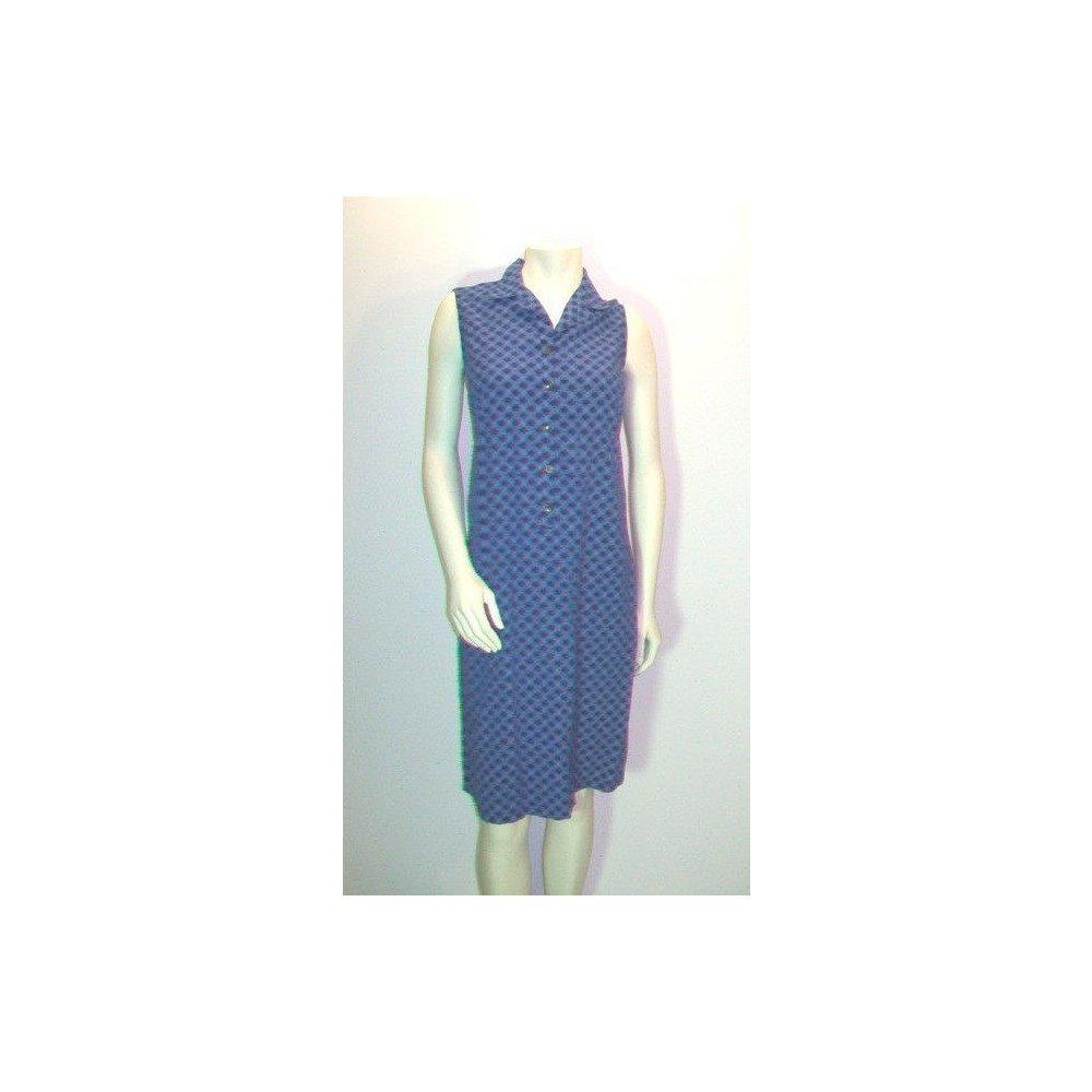 Vintage Blue Gingham Sleeveless Shirt Dress