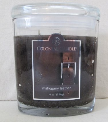 Colonial Candle 8 oz ~MAHOGANY LEATHER~ Scented Oval Jar w/ lid