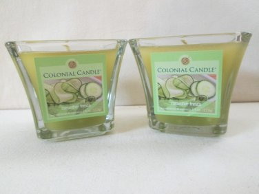 2 Colonial Candle CUCUMBER FRESCA 4 oz Scented Flared Square jar Candles, 20 hr