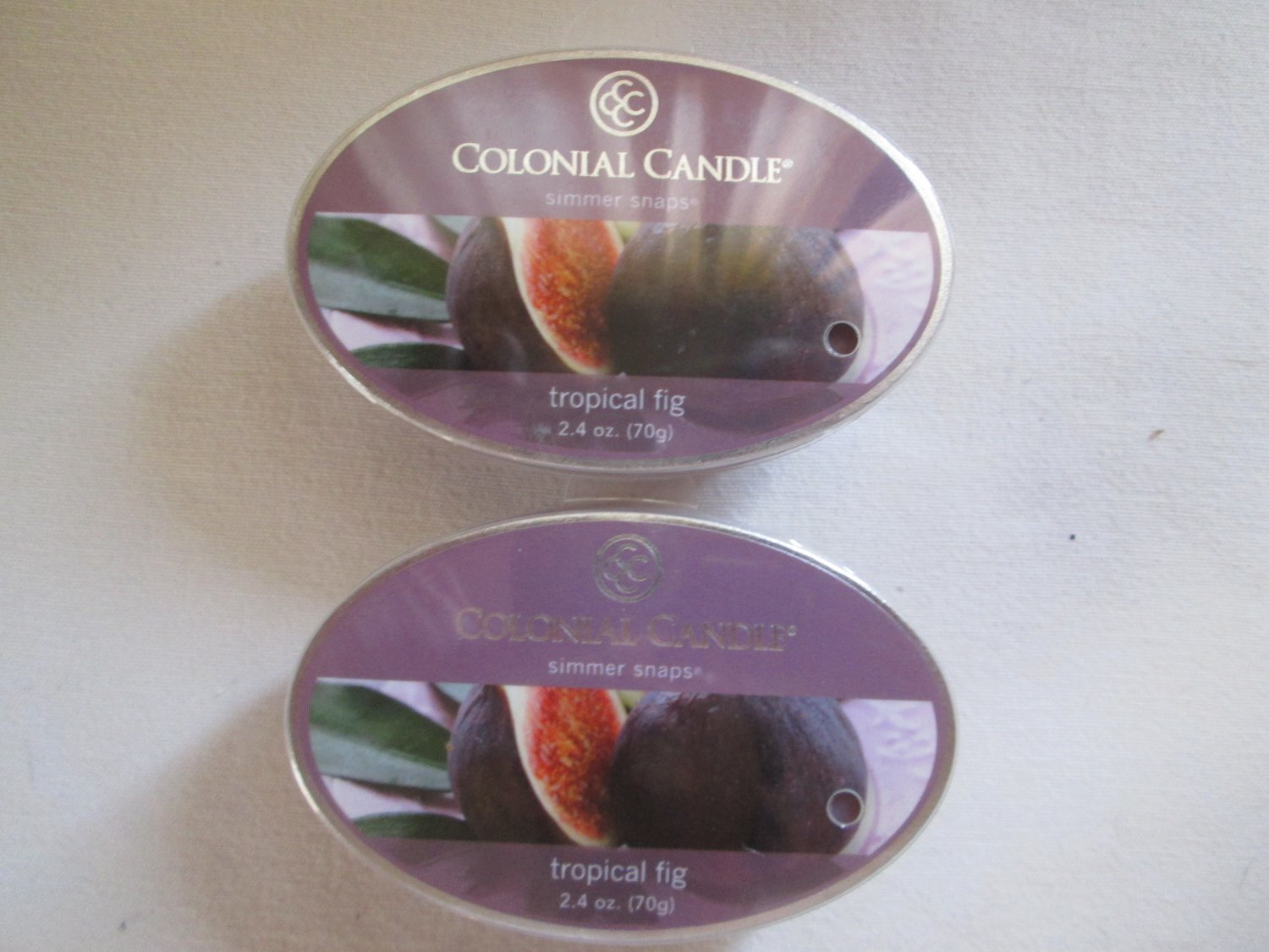 """2 Colonial Candle Simmer Snaps""""TROPICAL FIG"""" 2.4 oz wax melts/ tarts"""
