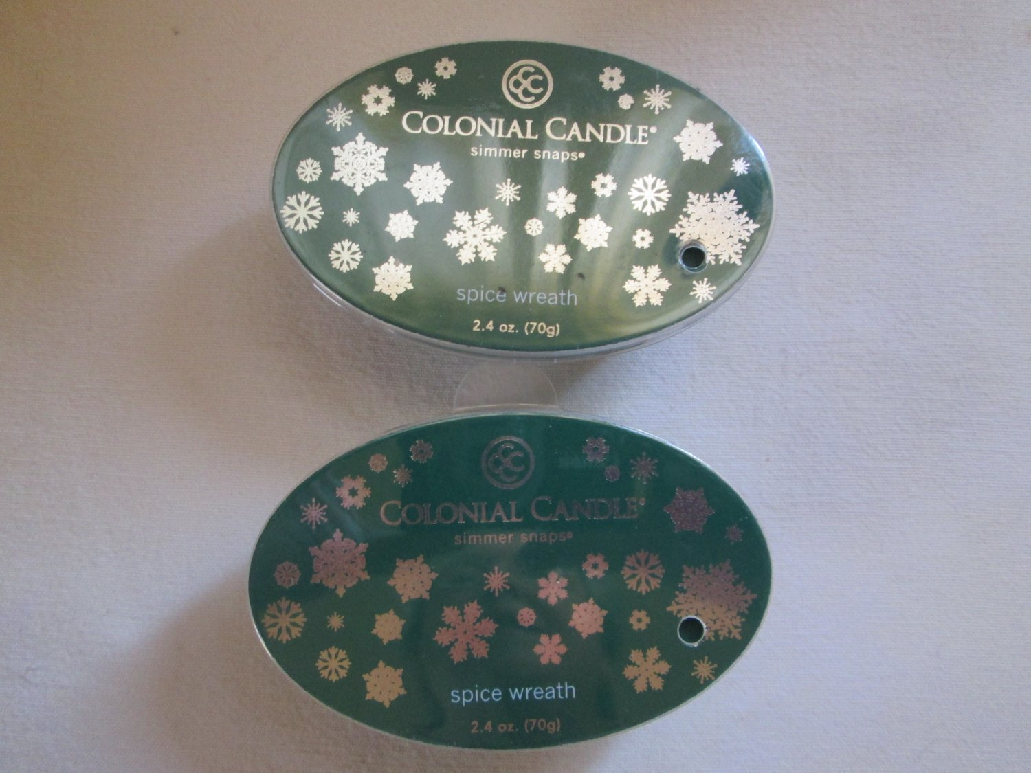 "2 Colonial Candle Simmer Snaps""WINTER WREATH"" 2.4 oz wax melts/ tarts"