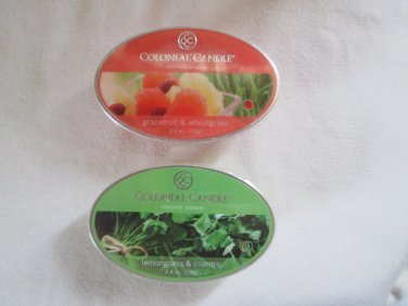 "2 Colonial Candle Simmer Snaps""GRAPEFRUIT WHEATGRASS,LEMONGRASS & CILANTRO"" 2.4 oz wax melts/ tarts"