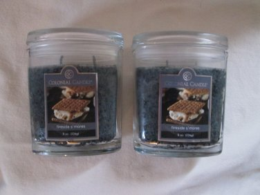2 Colonial Candle 8 oz ~FIRESIDE S'MORES~ Scented Oval Jar w/ lid
