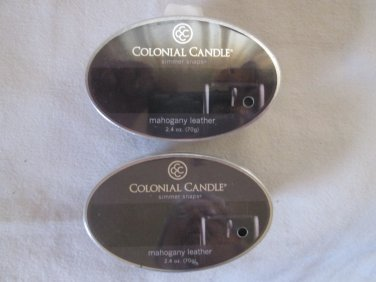 """2 Colonial Candle Simmer Snaps""""MAHOGANY LEATHER""""2.4 oz wax melts/ tarts"""