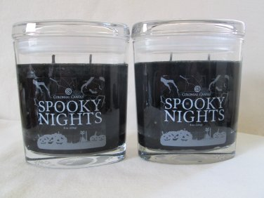 2 Colonial Candle 8 oz ~SPOOKY NIGHTS~ Scented Oval Jar w/ lid