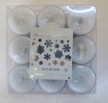 Colonial Candle ~~BIRCH & CLOVE~~ Tea Lights 9/ pack New