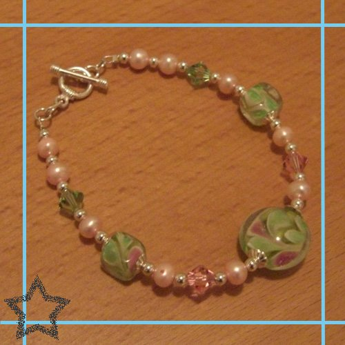 Lime Swirl with Light Rose & Peridot Austrian Crystals with Baby Pink Fresh Water Pearls Bracelet