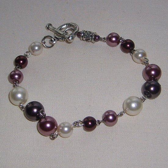 Pearl Bracelet (dark purple, purple + white)
