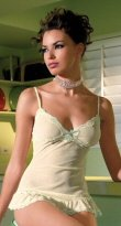 2 Piece Mesh Chemise with Scalloped Sequinned Lace Trim & G-Stiring