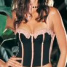2 Piece Underwire Satin Trim Bustier with Attached Garter