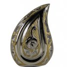 Silver and Gold Finish Teardrop Keepsake Funeral Brass Urn