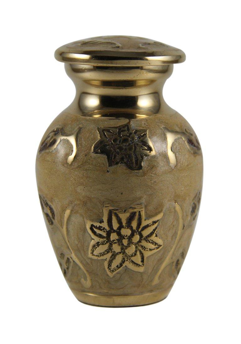 Small Size Gold Leaf Cream Keepsake Memorial Urn For Ashes With Velvet Box