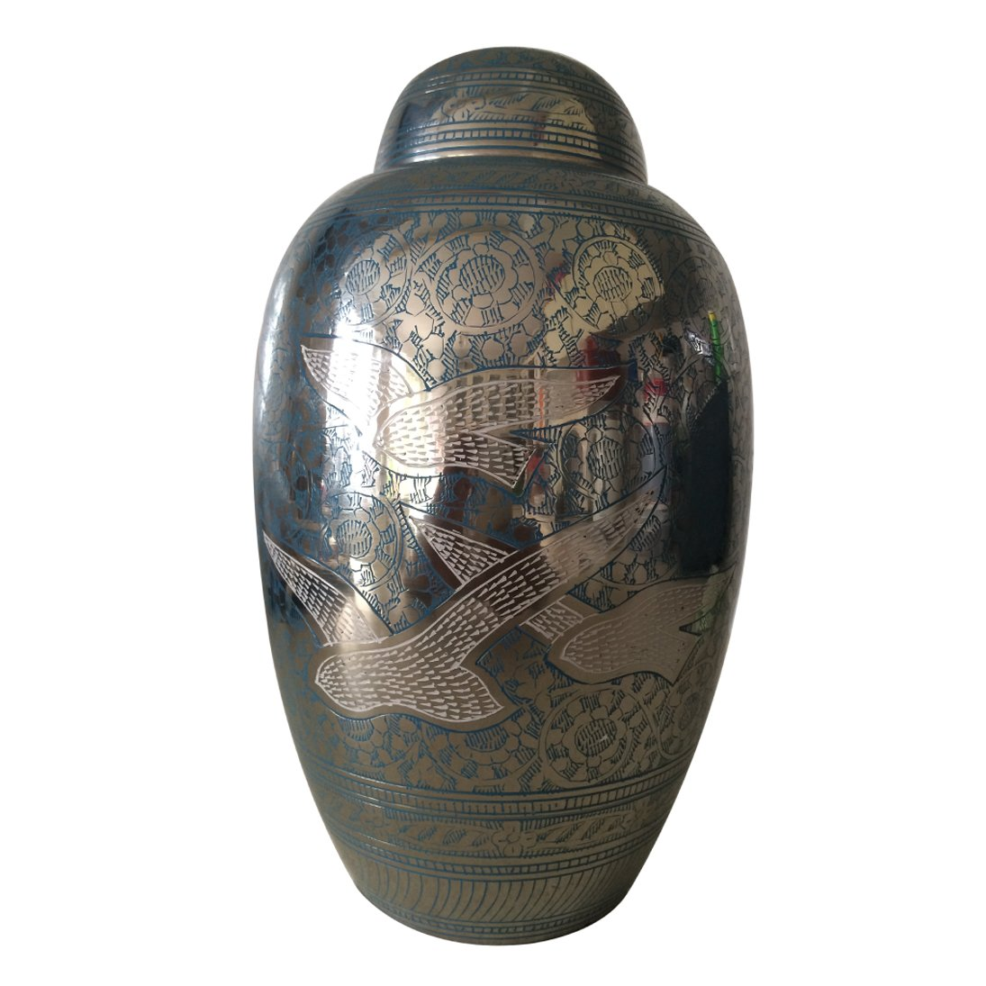 Large Size Going Home Birds Blue Color Adult Funeral Cremation Urn For Adult Ashes