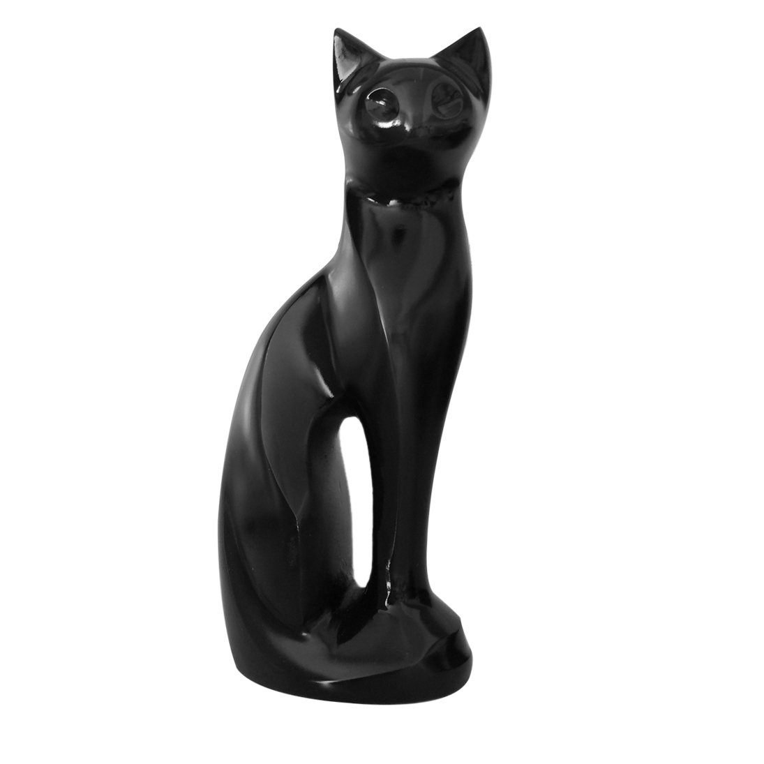 Midnight Sitting Cat Cremation Memorial Urn For Cat Ashes