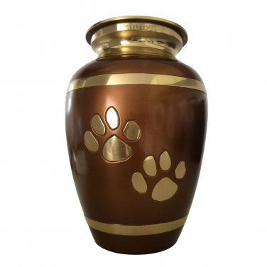 Pet Memorial Urns - Walking Paw Prints Brown Pet Cremation Urn For Pet Ashes
