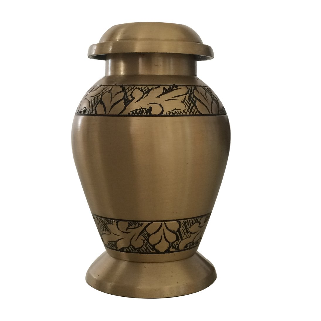 Engraved Brushed Brass Keepsake Cremation Urn