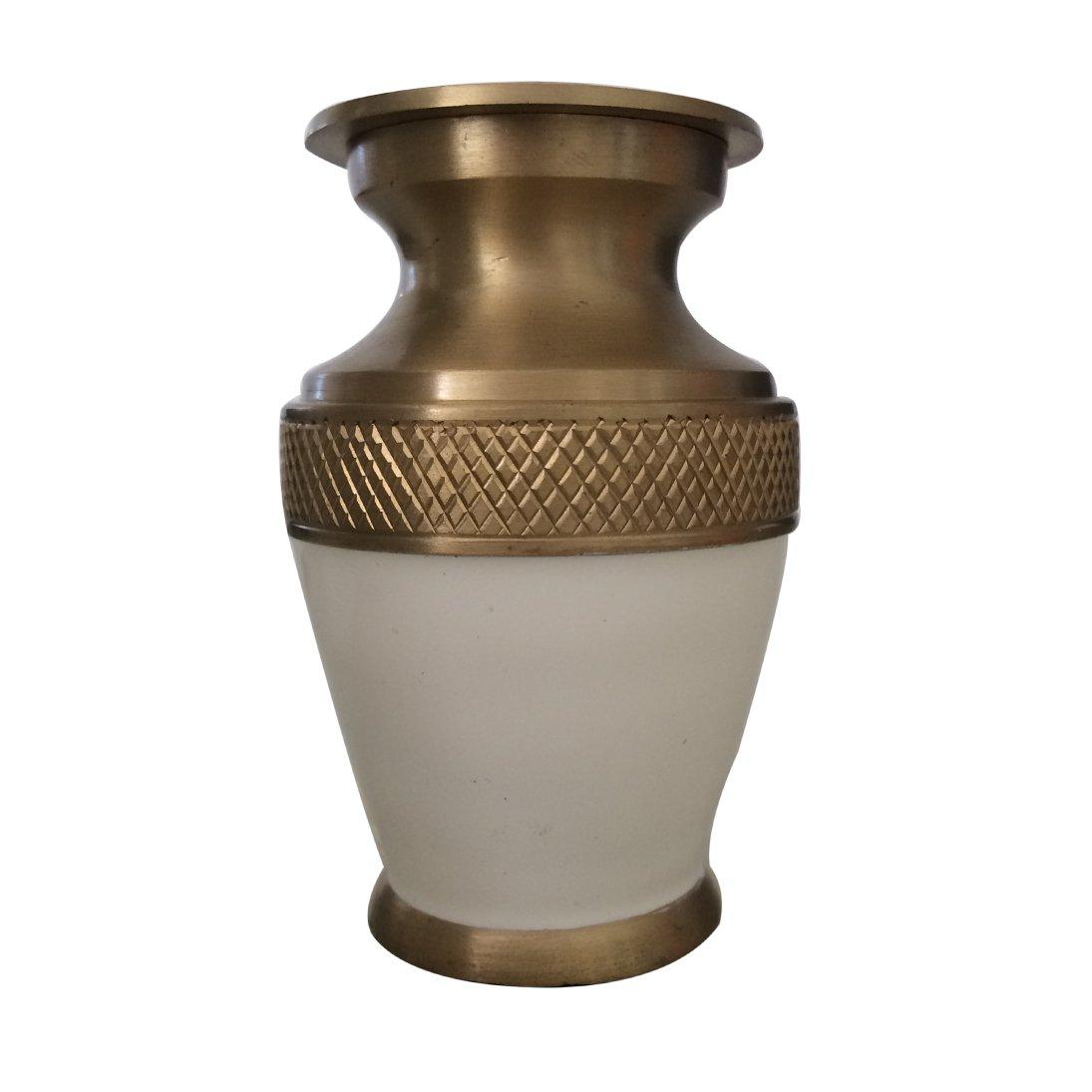 Majestic White Enamel Keepsake Urn Ashes, Cremation Memorial Urns