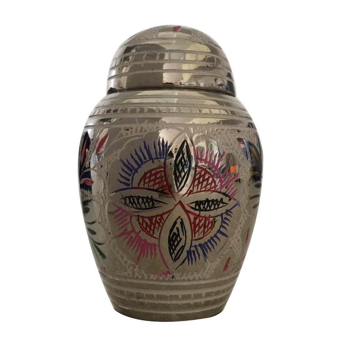 Farnham Flower Keepsake Urn with Enamel Color, Mini Urn for Ashes