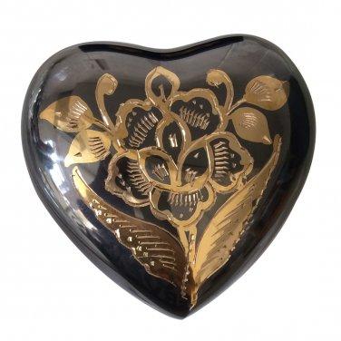 Classic Nickel Black Heart Keepsake Urn, Funeral Urns