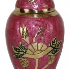 Small Keepsake Rose Floral Funeral Urn For Ashes With Velvet Box
