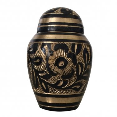 Mini Etched Ebony Keepsakes Memorial Urn For Ashes With Velvet Box