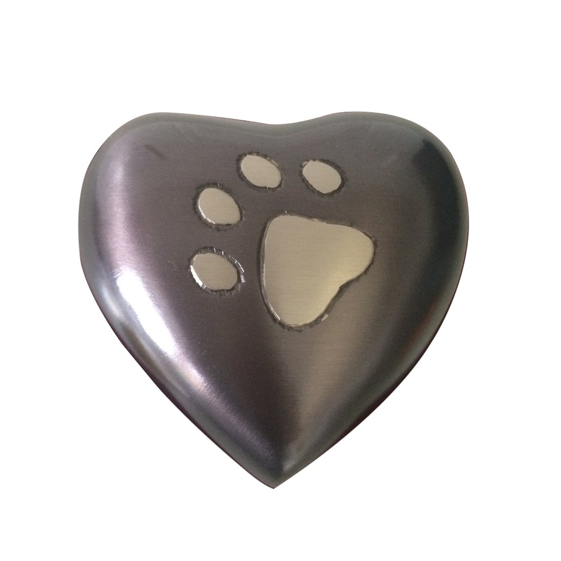 Mini Heart Shape Midnight Paw Print Pet Cremation Urn For Pet Ashes With Stand
