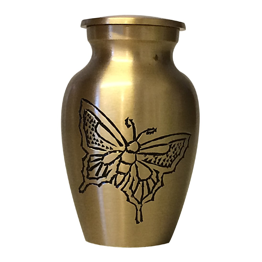 Classic Gold Butterfly Small Keepsake Urn, Mini Cremation