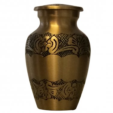 Flower Engraved Small Keepsake Urn, Mini Cremation Urns for Ashes