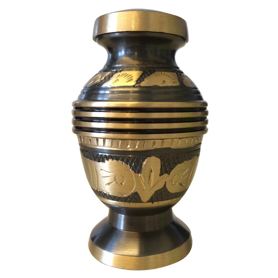 Black & Gold Engraved Floral Keepsake Urn, Mini Cremation Urns for Ashes