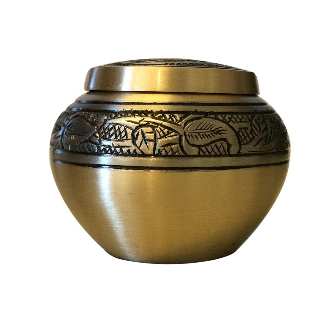 Gold Engraved Round Keepsake Urn, Mini Cremation Urns for Ashes