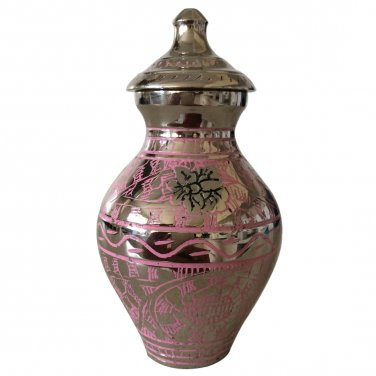 Engraved Pink Butterfly Small Urn, Mini Cremation Urns for Ashes