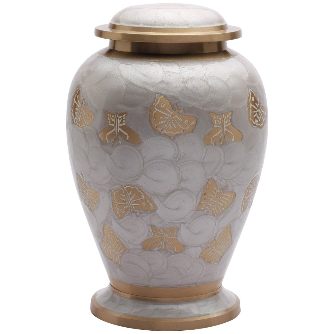 Butterflies Pearl White Adult Memorial Urn for Human Ashes, Large Cremation Urns