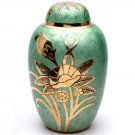 Big Dome Top Green Floral Adult Memorial Urn, Human Cremation Urns for Ashes