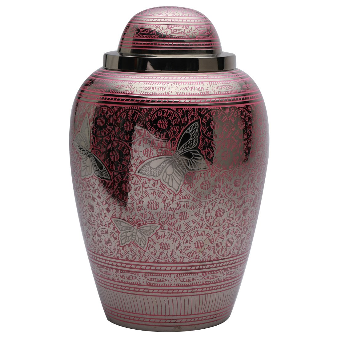 Portland Pink Butterflies Large Adult Cremation Urn, Big Funeral Urns for Ashes