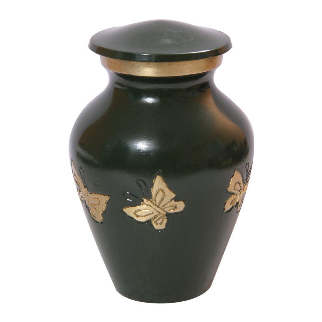 Mini Tribute Butterflies Green Keepsake Funeral Urn, Brass Memorial Urns Ashes