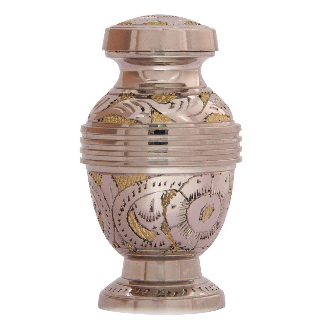Silver Flower Engraved Golden Keepsake Urn, Small Cremation Urns Ashes