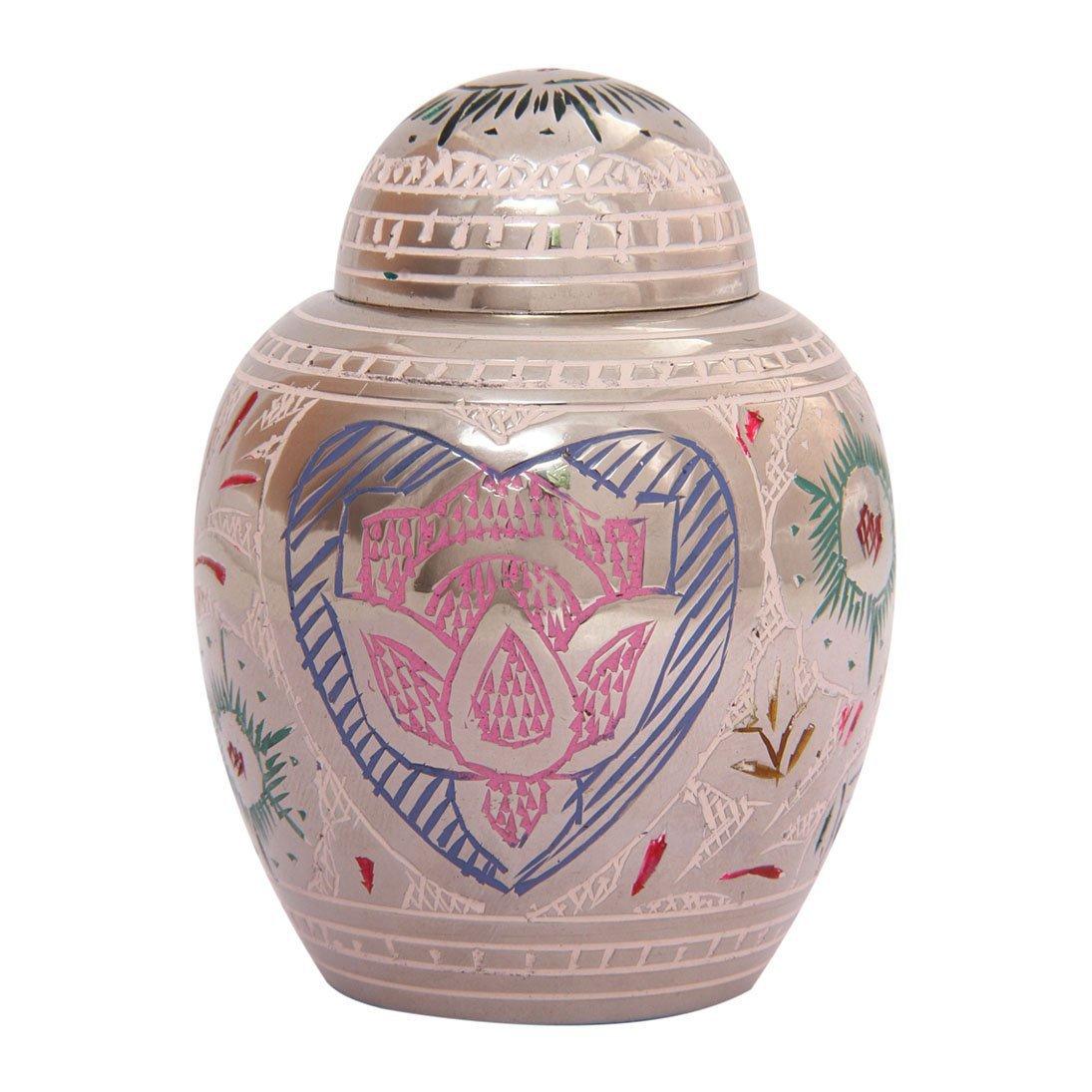 Unique Lotus Heart Mini Cremation Keepsake Urn Ashes, Memorial Keepsake Urns