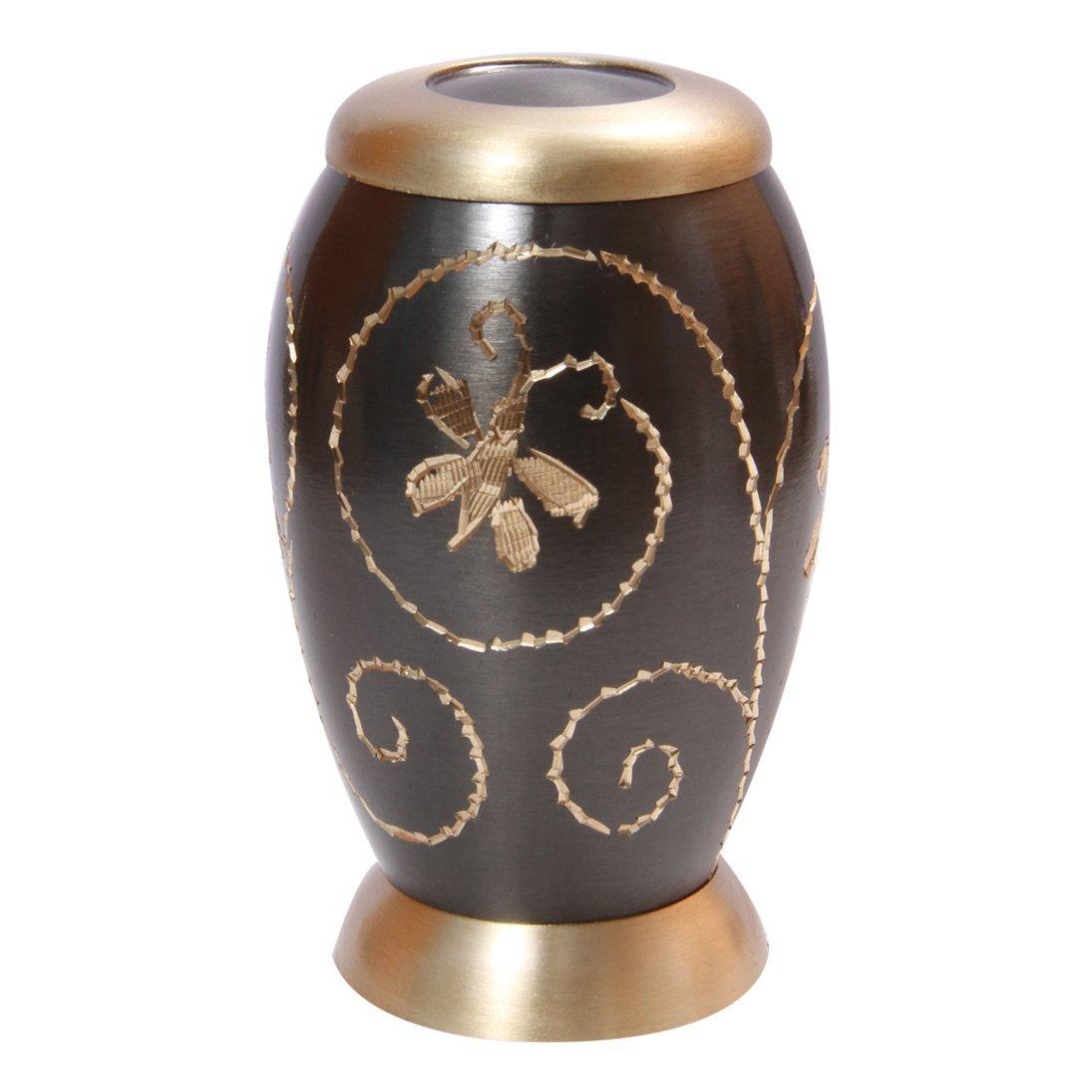 Golden Creeper Engraved Little Keepsake Urn for Human Ashes, Cremation Brass Urns