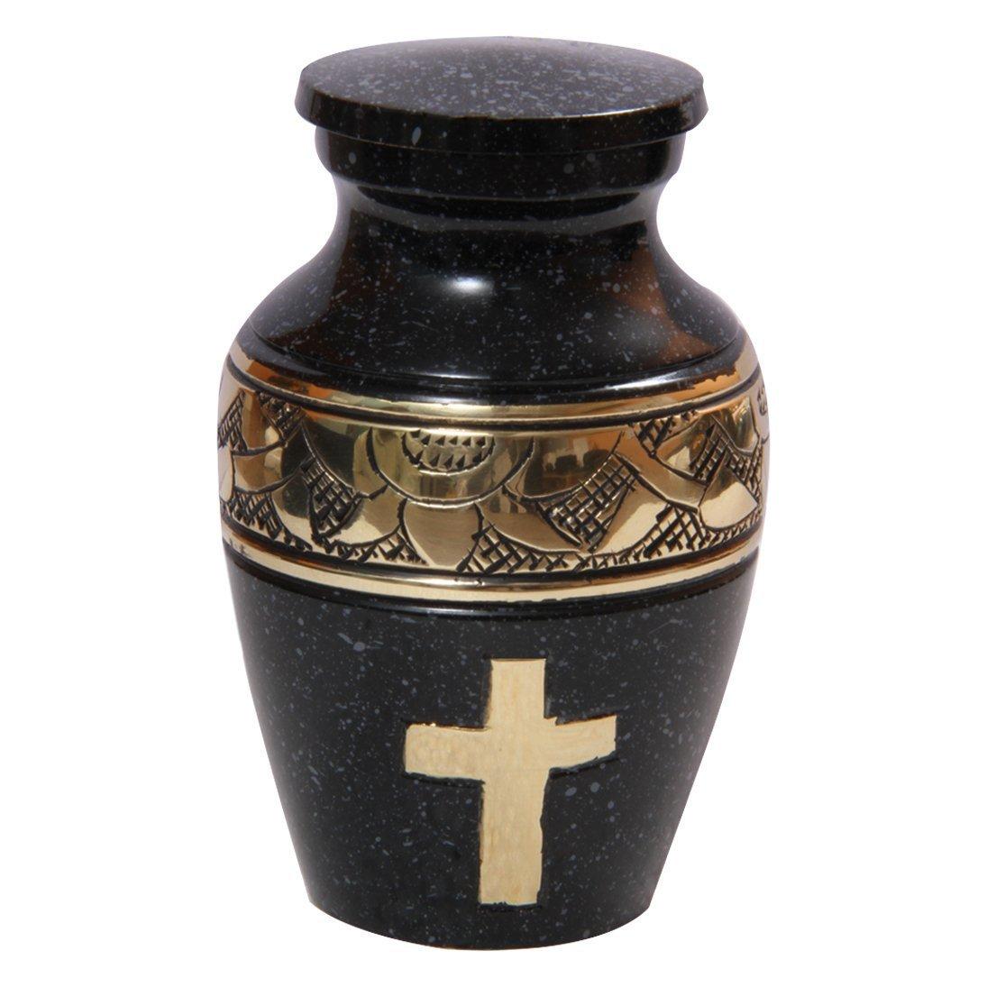 Custom Golden Cross Engraved Mini Keepsake Urn for Human Cremains, Human Cremation Urns