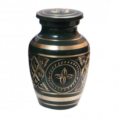 Gold Detailing Forest Green Small Keepsake Urn for Cremation Ashes, Engraved Memorial Urns