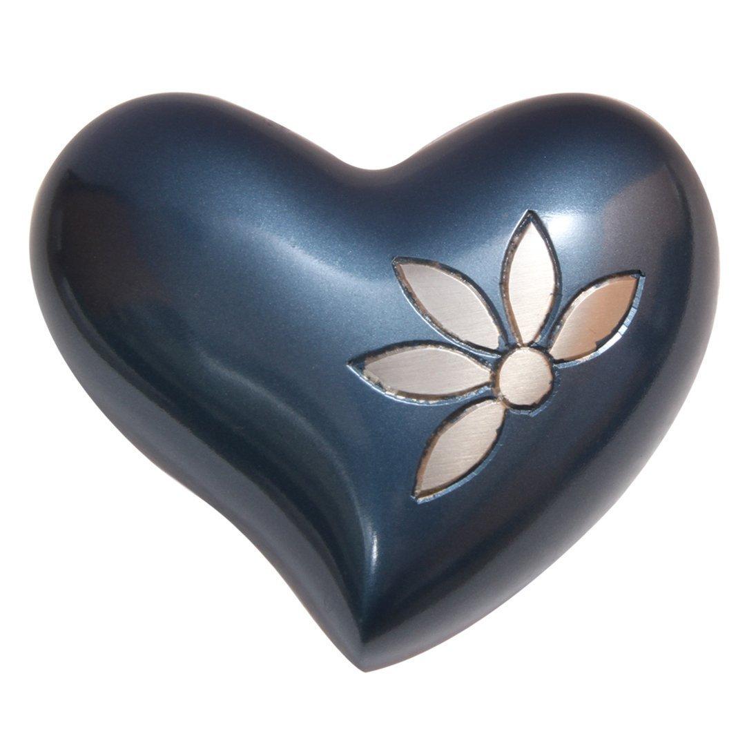 Sparkling Flower Mini Heart Keepsake Urn Ashes, Flower Cremation Urns