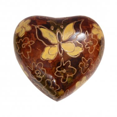 Golden Butterfly Small Heart Keepsake Urn for Ashes, Butterfly Funeral Urns
