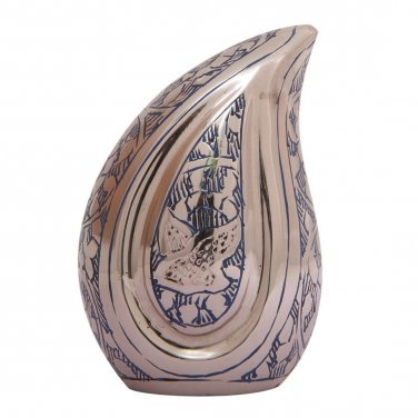 Doves Going Home Blue Teardrop Small Keepsake Urn Ashes, Low Price Funeral Urns