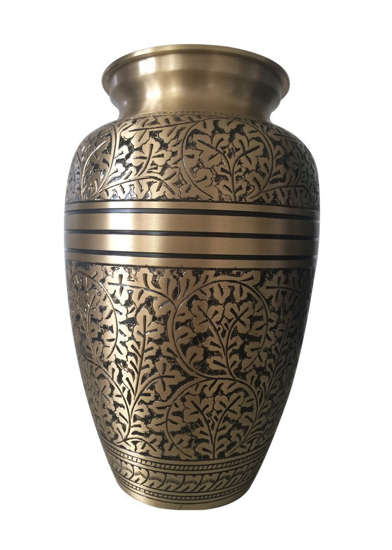Antique Nickel Engraved 7 Quot Cremation Urn For Ashes Medium