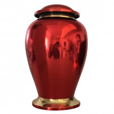 """Reading Ruby Red 7"""" Inches Funeral Urn for Human Ashes, Medium Memorial Urns"""