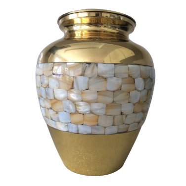 "7"" Inches Elite Mother of Pearl Cremation Urn for Memorials, Funeral Urn for Ashes"