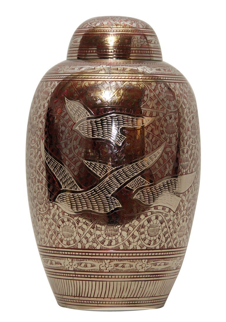 """7"""" Inches Doves Going Home Red Memorial Urn for Ashes, Medium Cremation Urns"""