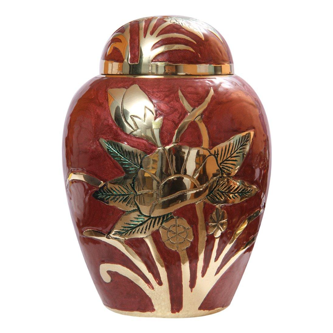 "Gold Flower Embossed Pink Medium 7"" Memorial Brass Urn, Cremation Urn Ashes"
