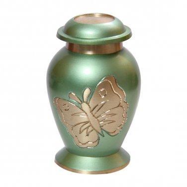 Lite Teal Butterfly Keepsake Urn Ashes, Cremation Memorial Urns